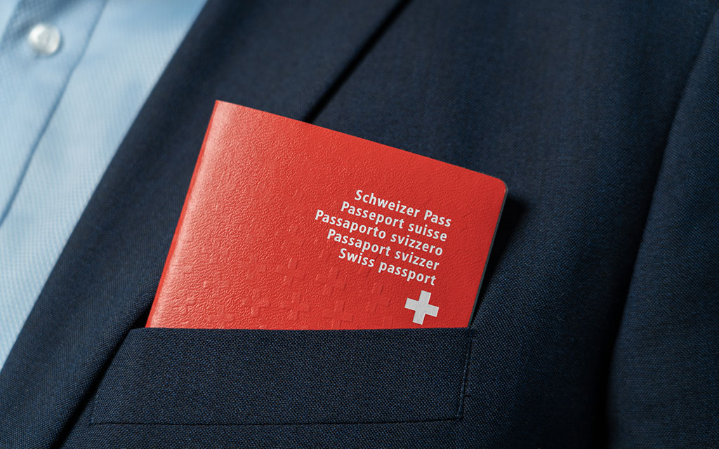 The Swiss passport fits nicely into the breast pocket