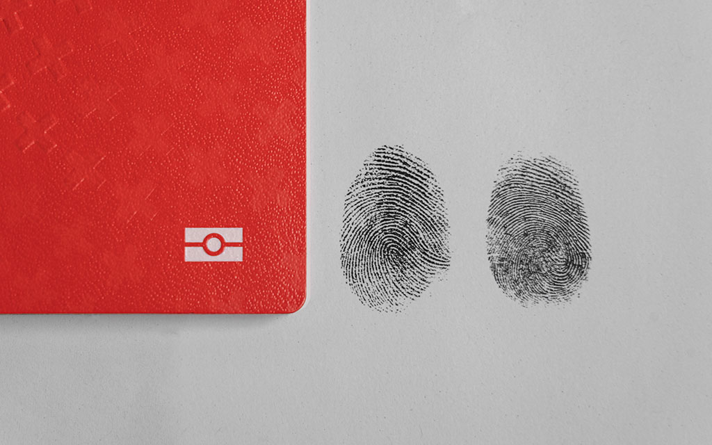 The Swiss passport and two fingerprints